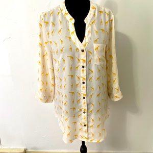 Bongo 3/4 sleeve giraffe print button up dress top